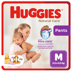 Pañal Huggies Natural Care, Tipo Calzoncito Talla M