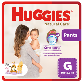 Pañal Huggies Natural Care, Tipo Calzoncito Talla G