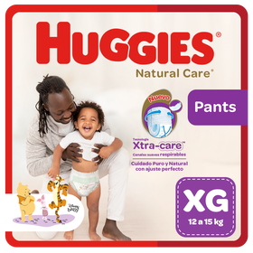 Pañal Huggies Natural Care, Tipo Calzoncito Talla XG